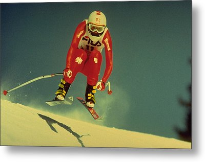 Skiing In Crans Montana Metal Print