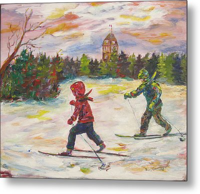 Skiing In The Park Metal Print by Naomi Gerrard
