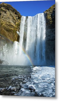 Metal Print featuring the photograph Skogafoss Waterfall Iceland In Winter by Matthias Hauser