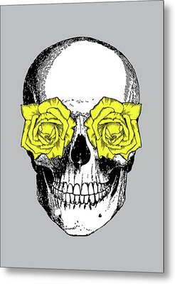 Skull And Roses Metal Print by Eclectic at HeART