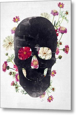 Skull Grunge Flower 2 Metal Print by Francisco Valle