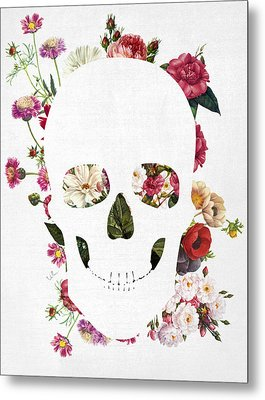 Skull Grunge Flower Metal Print by Francisco Valle