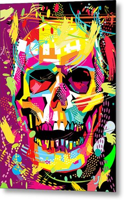 Skull Pop Art Dope Metal Print