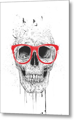 Skull With Red Glasses Metal Print by Balazs Solti