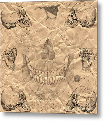 Skulls In Grunge Style Metal Print by Michal Boubin