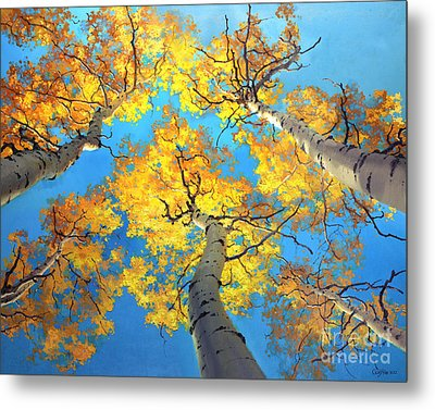 Sky High Aspen Trees Metal Print by Gary Kim