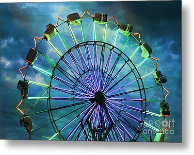 Skydiver At Night Metal Print by Sylvia Cook
