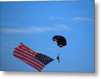 Skydiver With An American Flag  Metal Print by Art Spectrum