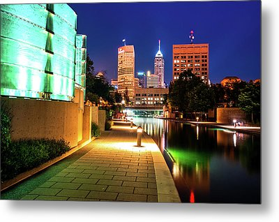 Skyline Of Indianapolis Indiana From The Canal Walk Metal Print