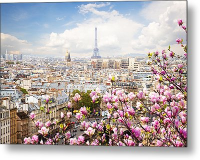 skyline of Paris with eiffel tower Metal Print by Anastasy Yarmolovich