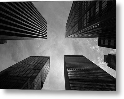 Skyscraper Intersection Metal Print by Linda Edgecomb