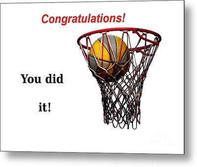 Slam Dunk Congratulations Greeting Card Metal Print by Yali Shi