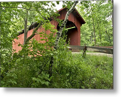Slaughter House Covered Bridge In Northfield Vermont Metal Print