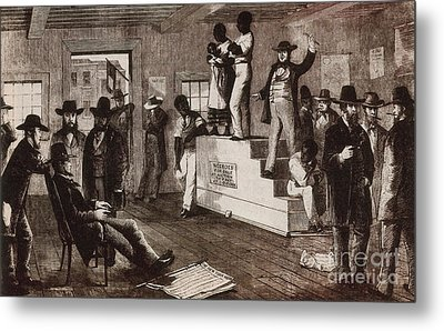 Slave Auction In Virginia Metal Print by Photo Researchers
