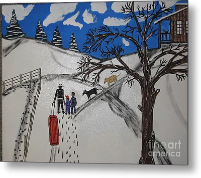 Metal Print featuring the painting Sled Riding by Jeffrey Koss