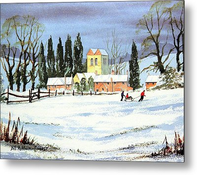 Metal Print featuring the painting Sledding With Dad by Bill Holkham