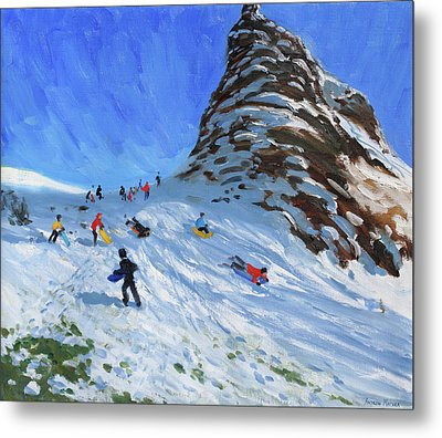Sledging, Chrome Hill, Derbyshire, Peak District Metal Print by Andrew Macara