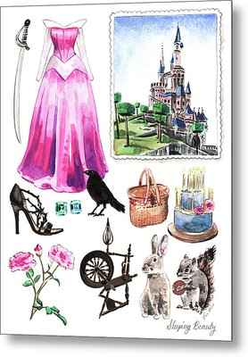 Sleeping Beauty Aurora Costume Watercolor Disney Princess Castle Dress Classic Disney World Metal Print by Laura Row