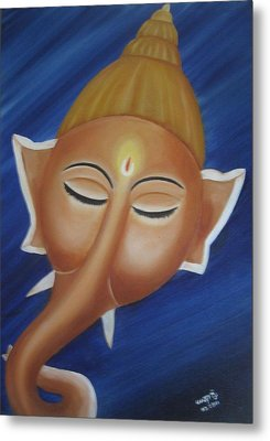 Sleeping Ganesha Metal Print by Usha Rai