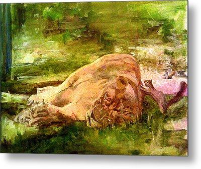 Sleeping Lionness Pushy Squirrel Metal Print