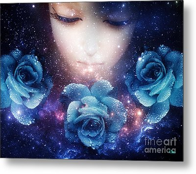 Metal Print featuring the digital art Sleeping Rose by Mo T