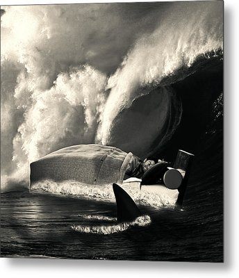 Sleeping With Sharks Black And White Metal Print