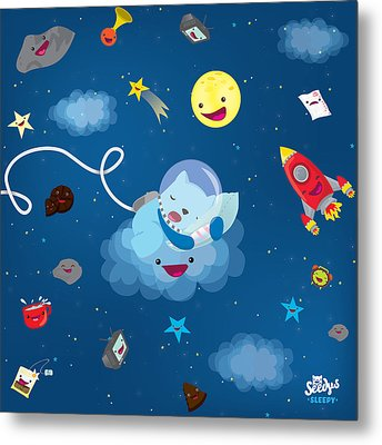 Sleepy In Space Metal Print