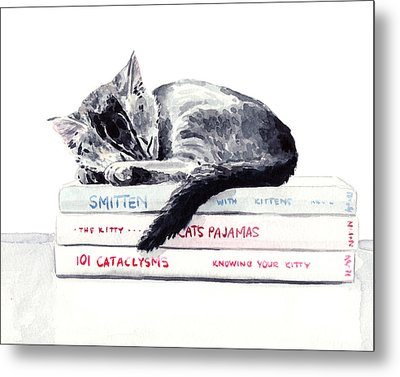 Sleepy Kitten Cat On Books Library Cute Kity Gray Striped Metal Print