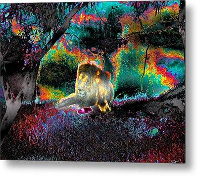 Sleepy Lion In A Surreal Fantasy Landscape Metal Print
