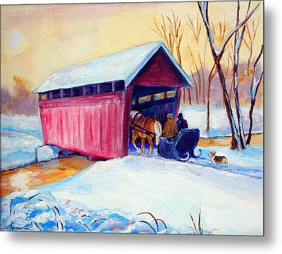 Sleigh Ride - Pembroke Welsh Corgi Metal Print by Lyn Cook