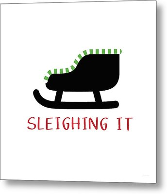Sleighing It- Art By Linda Woods Metal Print