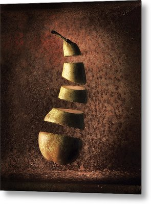 Sliced Up Pear Metal Print