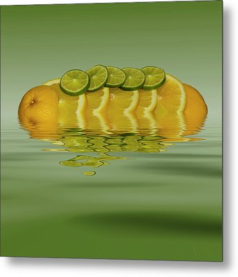 Metal Print featuring the photograph Slices Orange Lime Citrus Fruit by David French