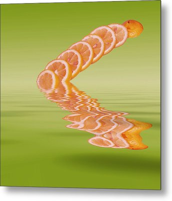Metal Print featuring the photograph Slices Pink Grapefruit Citrus Fruit by David French