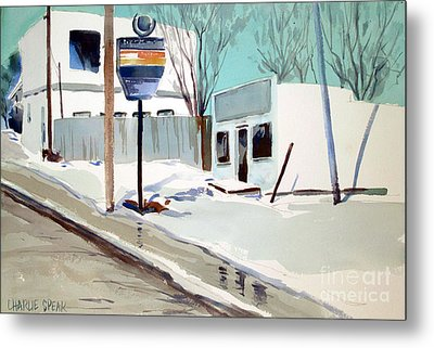 Metal Print featuring the painting Sloppy Slushy Washington Ave. Matted Framed Glassed by Charlie Spear