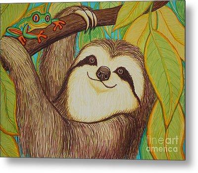 Sloth And Frog Metal Print by Nick Gustafson