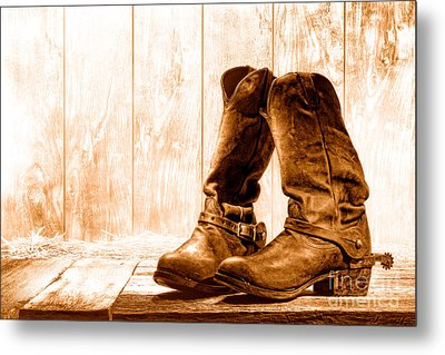 Slouch Cowboy Boots - Sepia Metal Print by Olivier Le Queinec