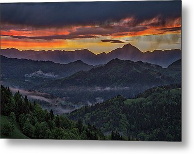 Metal Print featuring the photograph Slovenia Countryside Dawn by Stuart Litoff