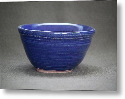Small Blue Ceramic Bowl Metal Print by Suzanne Gaff