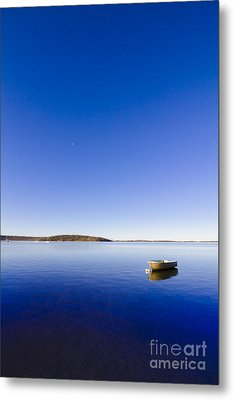 Small Boat Anchored Out To Sea Metal Print