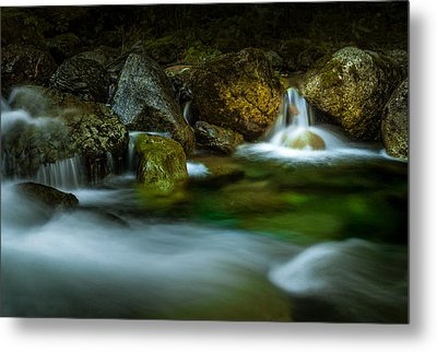 Small Falls In A Big Rush Metal Print