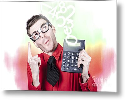 Smart Accountant Showing Income Tax Return Growth Metal Print by Jorgo Photography - Wall Art Gallery