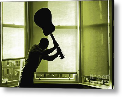 Metal Print featuring the photograph Smashing Up A Guitar by Craig B