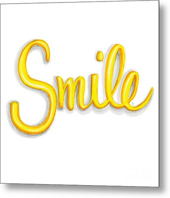 Metal Print featuring the drawing Smile by Cindy Garber Iverson