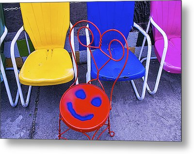 Smile On Chair Seat Metal Print by Garry Gay