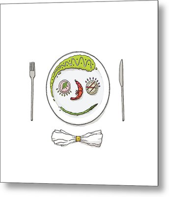 Smiley Face Created With Food On Plate Metal Print