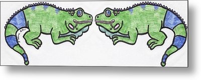 Metal Print featuring the drawing Smiley Iguanas by Yshua The Painter