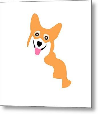 Smiling Corgi Pup Metal Print