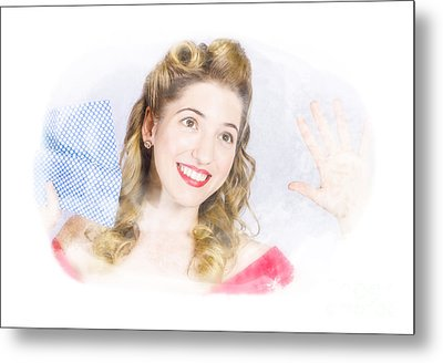 Smiling Pinup Cleaner With Retro Hair And Makeup  Metal Print by Jorgo Photography - Wall Art Gallery
