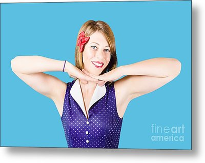 Smiling Retro Woman Showing Lipstick Makeup Metal Print by Jorgo Photography - Wall Art Gallery